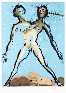 Salvador Dali ; ses peintures des signes du zodiaque : Signe principal de Mercure, c'est avant tout le symbole double des contacts humains, des transports, des communications (…) le goût du jeu, l'agrément de l'exercice des idées et du commerce de l'esprit, l'envol de l'intelligence. (bras, mains, poumons, système respiratoire)