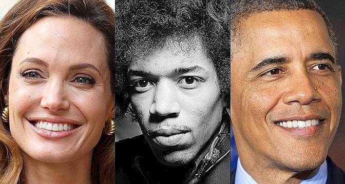 Gauchers célèbres, Angelina Jolie, Jimmy Hendricks, Barak Obama...